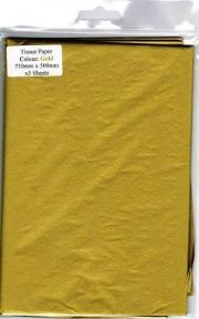 3 Sheets Of Gold Tissue Paper 750mm x 500mm